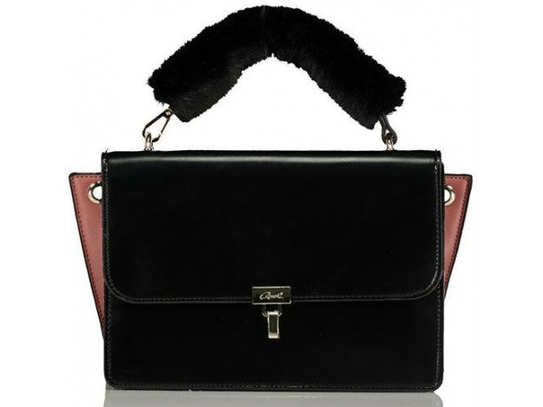 Axel Kate bag with flap and fur detail on strap 1010-2352 black