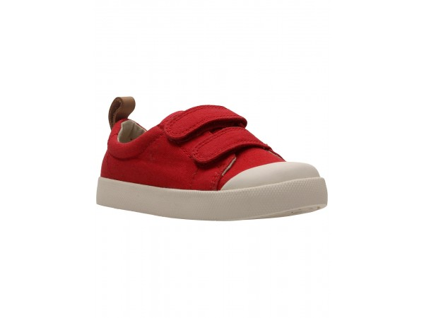 Clarks Tiny Pebble red canvas 26133623