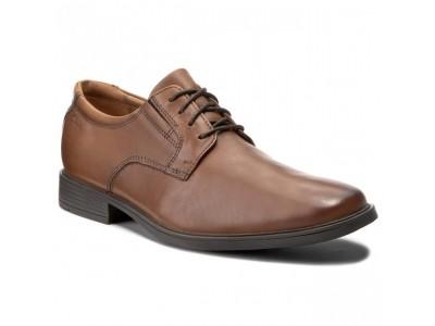Clarks Tilden Plain dark tan leather 26130097