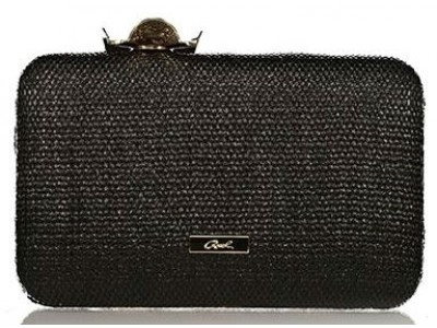Axel Lea clutch with flower closing 1005-1212 black