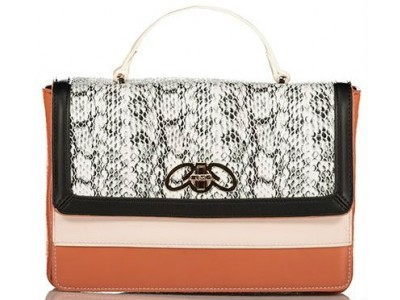 Axel Doris handbag snake texture 1010-2423 black
