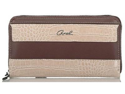 Axel Feronia zip around wallet croc detail 1101-1249 016 brown