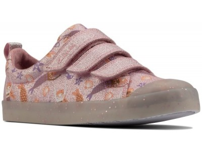 Clarks Foxing print K 26158357 pink canvas