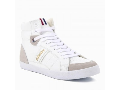 Superdry White Super Sleek Hi top Trainers