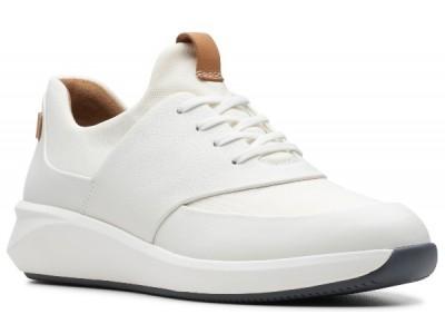 Clarks Un Rio Lace 26140398 white leather-textile combi