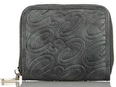 Axel Alena embossed logo wallet with zipper 1101-1256 130 dark grey