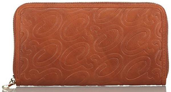 Axel Alena embossed logo zip wallet 1101-1257 025 camel