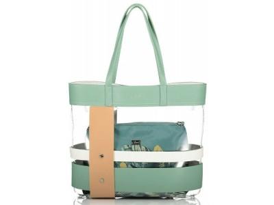 Axel Idyllic Jungle transparent bag with interior bag 1010-2270 pistachio