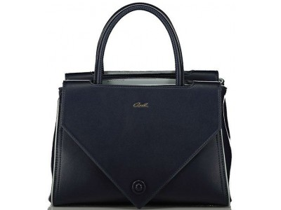 Axel Taylor handbag middle zip and double flap 1010-2319 dark blue