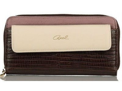 Axel Nora zip wallet with flap pocket 1101-1147 cacao