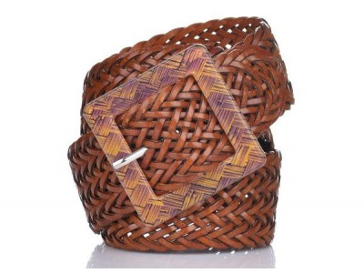 Axel leather belt with braid design 1609-0052 camel