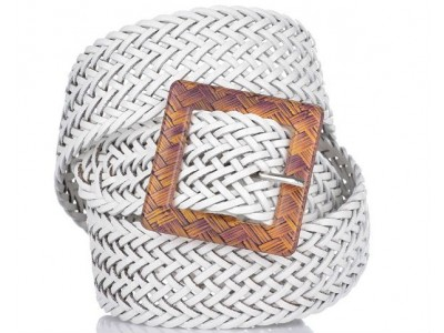 Axel leather belt with braid design 1609-0052 white