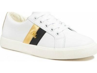 Polo Ralph Lauren Janson II Leather Trainer - White/Gold - 802828027002