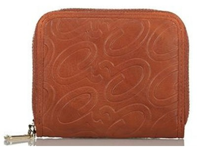 Axel Alena embossed logo wallet with zipper 1101-1256 025 camel