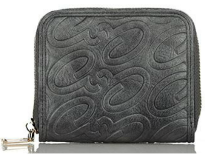 Axel Alena embossed logo wallet with zipper 1101-1256 130 dark grey