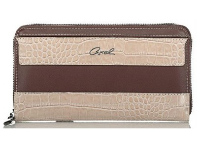 Axel Feronia zip around wallet croc detail 1101-1249 016 brown