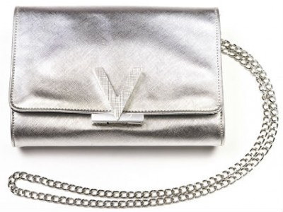 Valentino bag with V closing silver