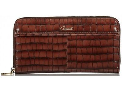 Axel Ivy big croc wallet with zipper 1101-1290 016 brown