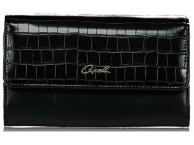 Axel Ivy croc effect flap wallet 1101-1230 003 black