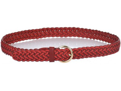 Axel Thin leather belt with braided design 1609-0047 bordo